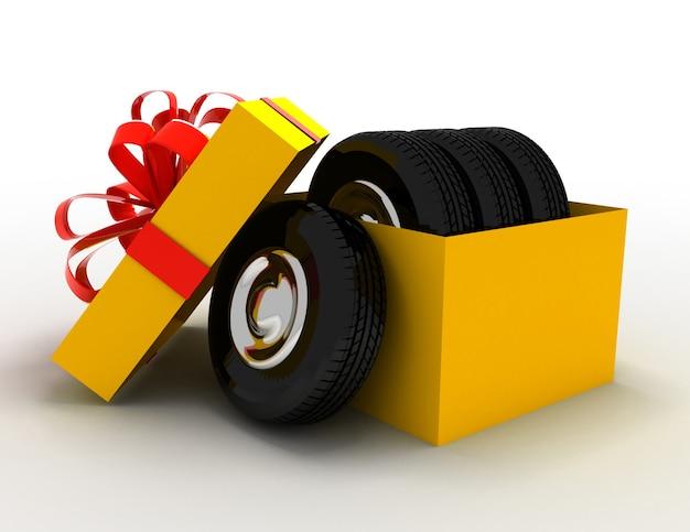 Caixa de presente com pneus e rodas. ilustração renderizada 3d