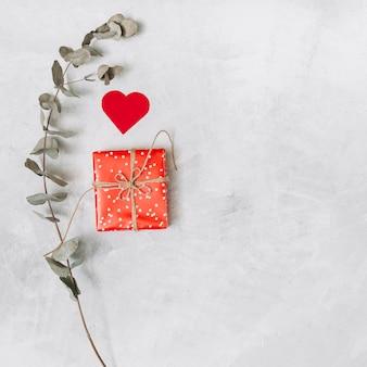 Caixa de presente, coração de ornamento e galho de planta