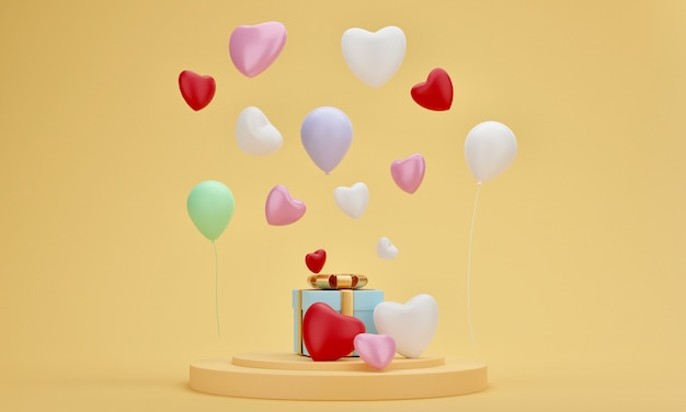Caixa de presente, coração e balão no pódio de apresentação com fundo amarelo pastel. casamento mínimo, aniversário ou momento especial. renderização 3d