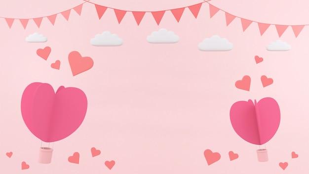 Caixa de presente coração flutuante cartão fundo amor valentine conceito renderização em 3d