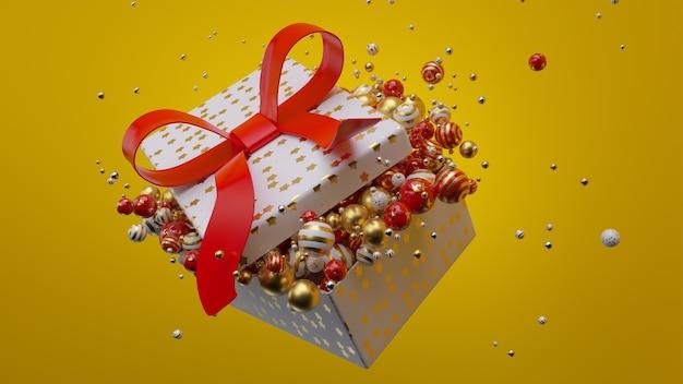 Caixa de presente de natal com bolas de natal renderização 3d