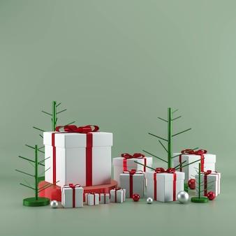Caixa de presente de natal com enfeites em fundo verde pastel