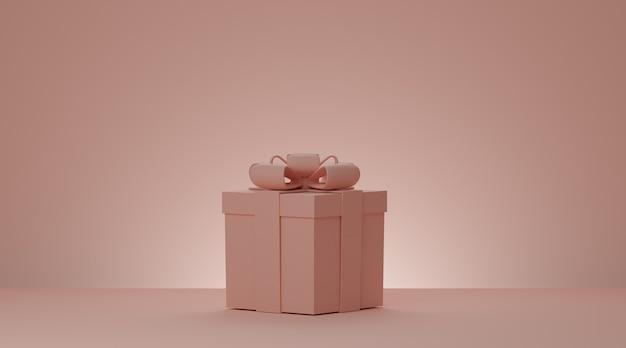 Caixa de presente de natal e ano novo, caixa de presente rosa com fita sobre fundo rosa mínimo. renderização 3d.