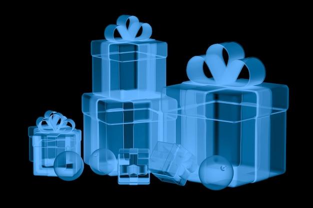 Caixa de presente de raio x de renderização 3d isolada em preto