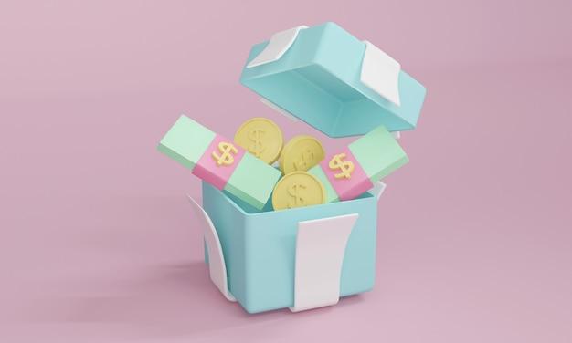 Caixa de presente de renderização 3d aberta com nota de dinheiro e moeda dentro em tema pastel. ilustração 3d render.