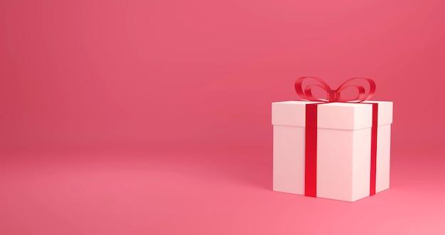 Caixa de presente de renderização 3d, celebração do amor e dia dos namorados,