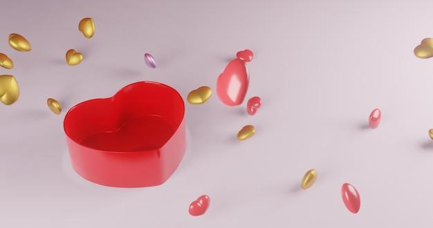 Caixa de presente do coração de explosão., valentine., renderização em 3d