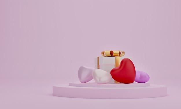 Caixa de presente e coração no pódio de apresentação com fundo de cor rosa. ide para a mãe, dia dos namorados, aniversário, renderização em 3d.