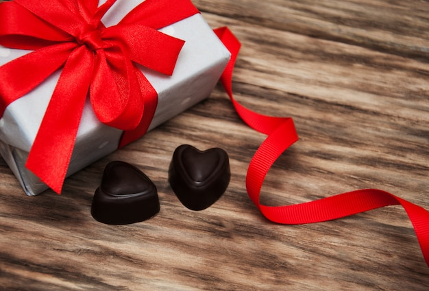 Caixa de presente e doces de chocolate