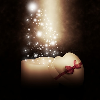 Caixa de presente em forma de coração com estrelas brilhantes