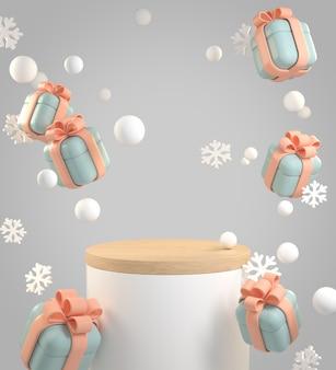 Caixa de presente festiva do palco de maquete com neve e floco de neve caindo fundo abstrato renderização em 3d