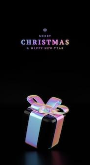 Caixa de presente holográfica de natal. conceito de desconto criativo, oferta festiva, ilustração de vendas de férias, queda de caixas de presente holográficas 3d rendem a ilustração. banner vertical com presente mínimo