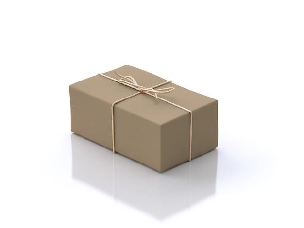 Caixa de presente marrom piso branco reflexão renderização em 3d