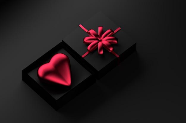 Caixa de presente preta com coração vermelho e um arco.