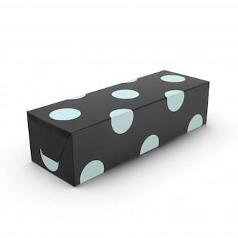 Caixa de presente preta com pontos azuis