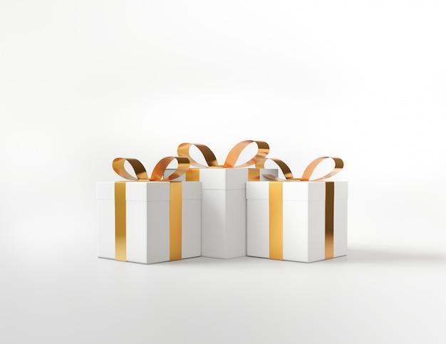 Caixa de presente quadrada branca e conceito de laço dourado metálico