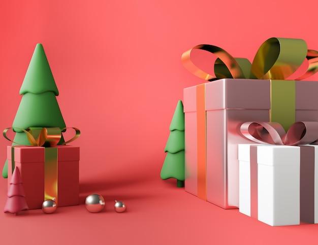 Caixa de presente quadrada de árvore e laço dourado rosa metálico