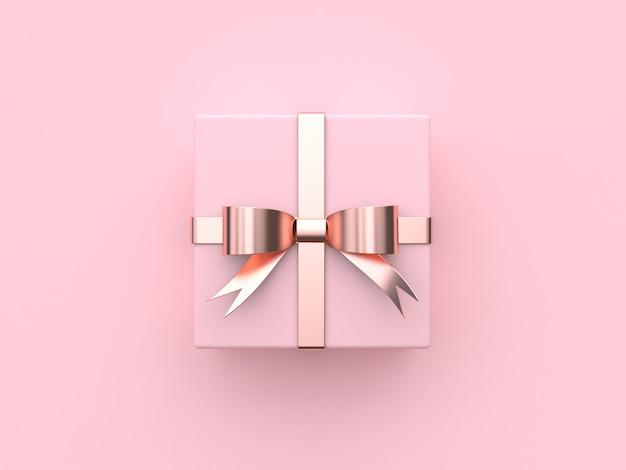 Caixa de presente quadrada rosa laço metálico fita valentine renderização em 3d