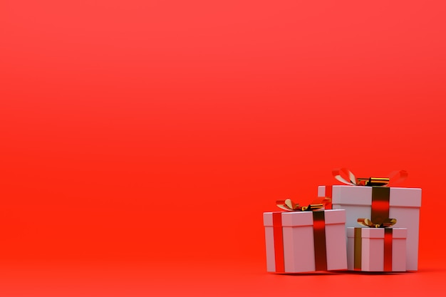 Caixa de presente realista colorida de renderização 3d, fundo vermelho com laço colorido
