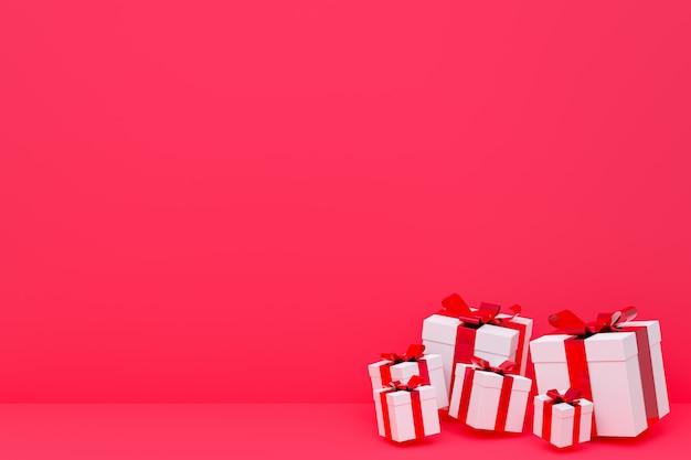 Caixa de presente realista colorido de renderização 3d de fundo vermelho com laço colorido no espaço em branco para festa, banners de mídia social de promoção, cartazes, aniversário