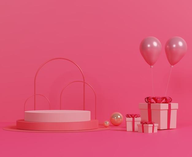Caixa de presente rosa e balão rosa sobre fundo pastel. feliz dia dos namorados. amo o conceito de celebração.