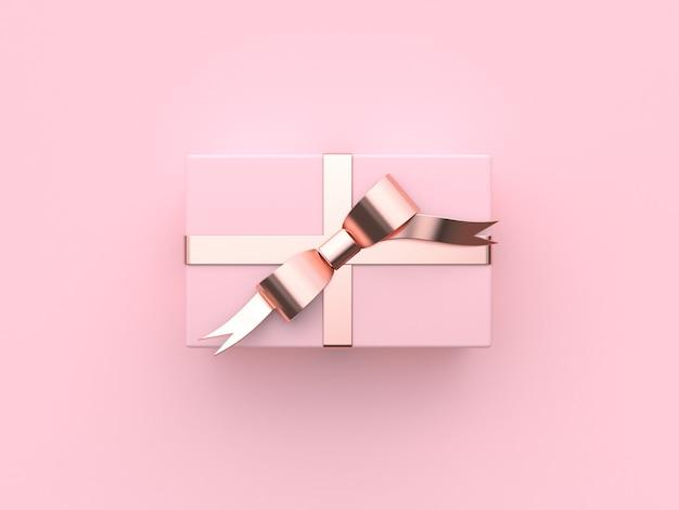 Caixa de presente rosa natal férias ano novo conceito renderização em 3d