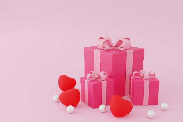 Caixa de presente rosa ou caixa de presente em fundo rosa, renderização de valentine concept.3d.