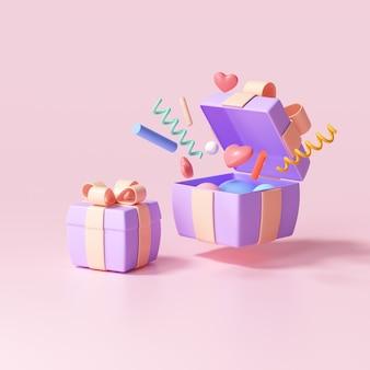 Caixa de presente surpresa 3d, caixa de presente aberta com explosão de objetos, conceito de saudação, sorte e oferta especial. ilustração 3d render