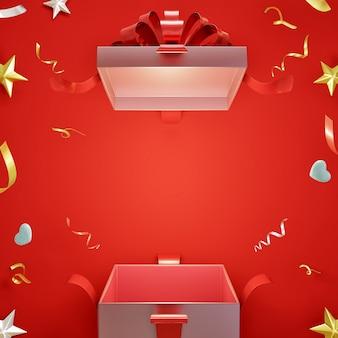 Caixa de presente surpresa aberta em fundo vermelho