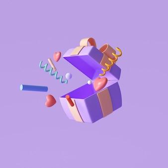 Caixa de presente surpresa roxa 3d, caixa de presente aberta com explosão de objetos, saudação, sorte, conceito de oferta especial. ilustração 3d render