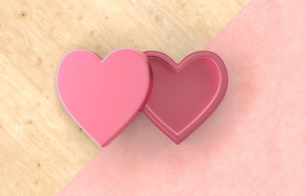 Caixa de presente vazia coração vermelho sobre fundo duotone com textura de madeira para a exposição do produto. conceito de amor mínimo. postura plana. vista do topo.