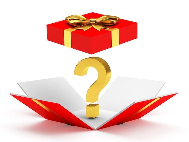 Caixa de presente vermelha aberta com ponto de interrogação