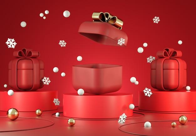 Caixa de presente vermelha para exibição de maquete e espaço em branco aberto para apresentação com fundo de cena de queda de neve renderização em 3d