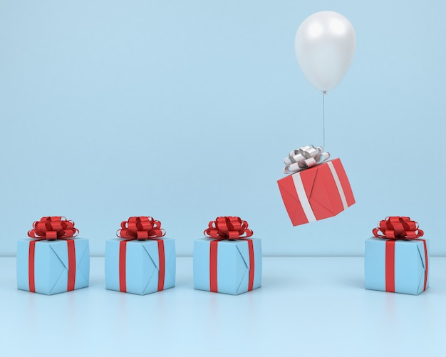 Caixa de presente voar no balão de ar branco e fita vermelha fundo rosa 3d render pastel