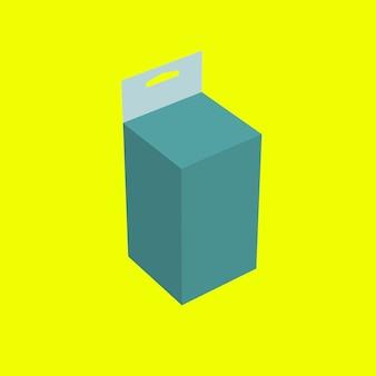 Caixa de suspensão de remédio verde 3d isolada em fundo amarelo. adequado para o seu elemento de design.
