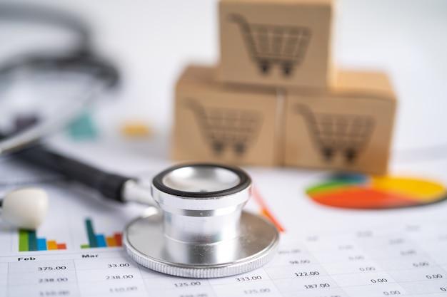 Caixa do carrinho de compras no gráfico dados de pesquisa analítica de investimentos em contas bancárias