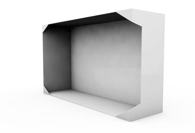 Caixa em branco branca realista para design e logotipo isolado no fundo branco. ilustração 3d