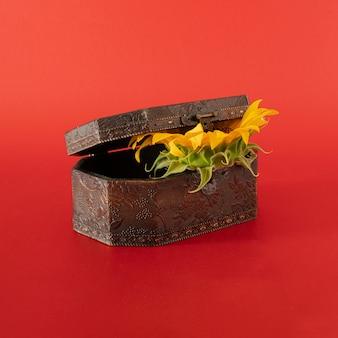 Caixa marrom com girassóis no fundo vermelho em negrito. arte abstrata. ideia moderna de decoração criativa.