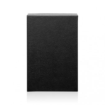 Caixa negra isolada no fundo branco. pacote de produto escuro para o seu design. objeto de caminhos de recorte. (forma de retângulo)