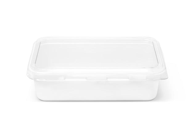 Caixa plástica de embalagem em branco para comida isolada