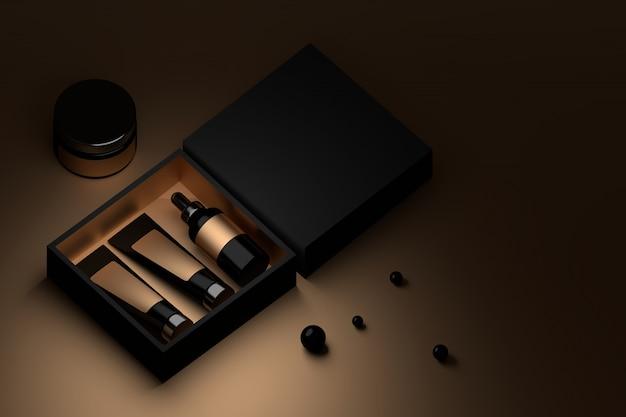 Caixa preta com embalagens de cosméticos e perls preto.
