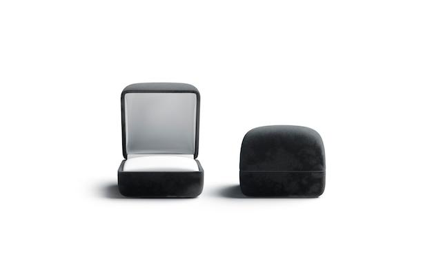 Caixa preta em branco aberta e fechada com anel, vista frontal