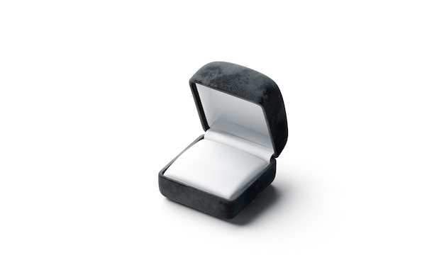 Caixa preta em branco com anel aberto, vista lateral