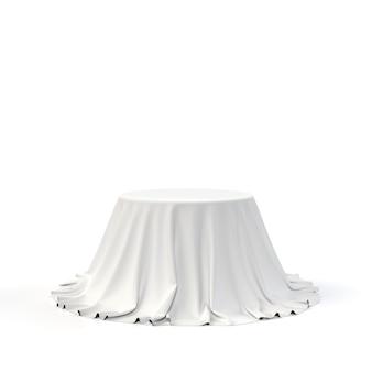 Caixa redonda coberta com tecido branco