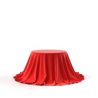 Caixa redonda coberta com tecido vermelho