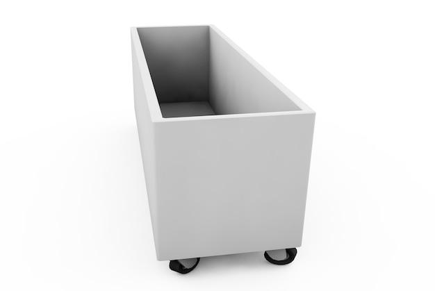 Caixa sobre rodas renderização 3d em fundo branco