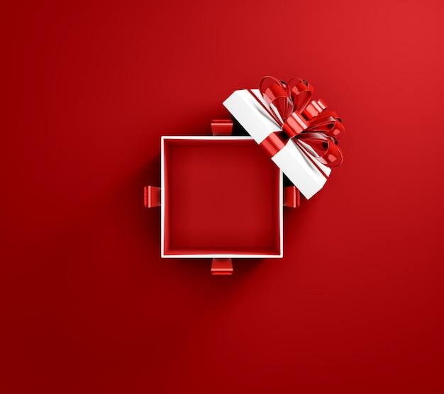 Caixa surpresa vermelha aberta e vazia, vista de cima