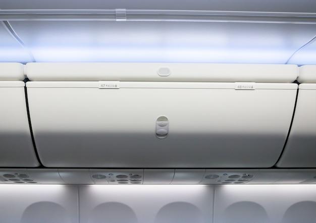 Caixa útil interna da cabine do avião