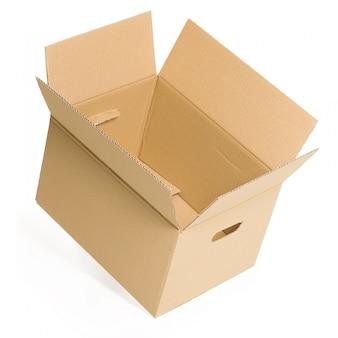 Caixa vazia e aberta em branco
