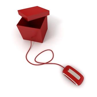 Caixa vermelha com tampa aberta conectada ao mouse do computador